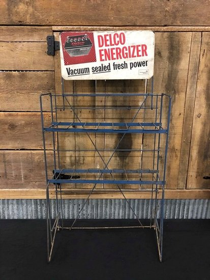 Delco Energizer Battery Rack with Tin Sign