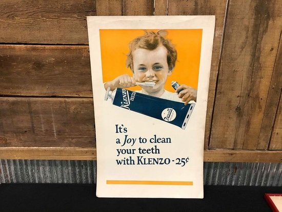 Klenzo Dental Cream Tooth Paste Cardboard Sign
