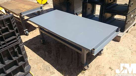 ROLLING SHOP TABLE, STEEL TOP