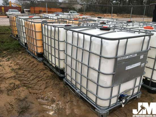 (5) 250 GAL POLY TOTES W/METAL CAGE PALLETS