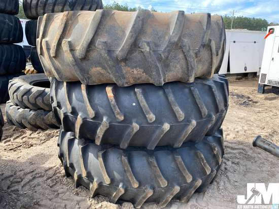 (3) 18.4-34 TRACTOR TIRES, (2) MOUNTED ON RIMS, ***COUNTY OWNED***