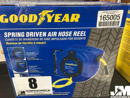 "(UNUSED) GOODYEAR 3/8"" X 50' SPRING DRIVEN AIR HOSE REEL"