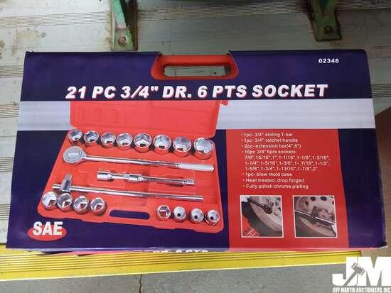"""(UNUSED) 21 PC 3/4"""" DRIVE SAE 6PT SOCKET SET W/CARRY"""