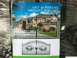 (UNUSED) GREATBEAR 14' BI-PARTING WROUGHT IRON GATE W/DEER ARTWORK IN