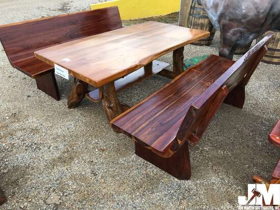 TEAK WOOD TABLE W/ 2 CHURCH BENCHES