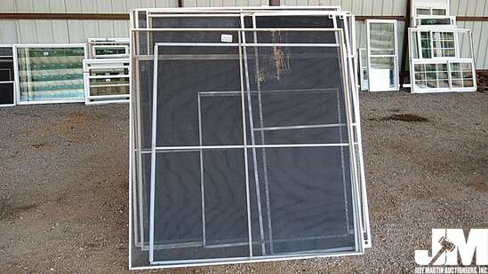 (USED) QTY OF ASSORTED WINDOW AND DOOR SCREENS