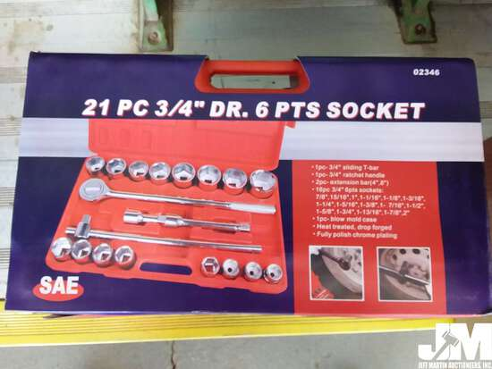 """(UNUSED) 21 PC 3/4"""" DRIVE SAE 6PT SOCKET SET, WITH"""