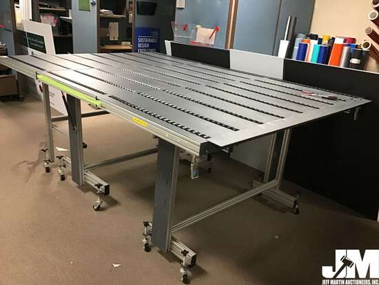 "WORK TABLE W/ ROLLERS, 3 SEGMENTS, 100.5"" X 69"" X"