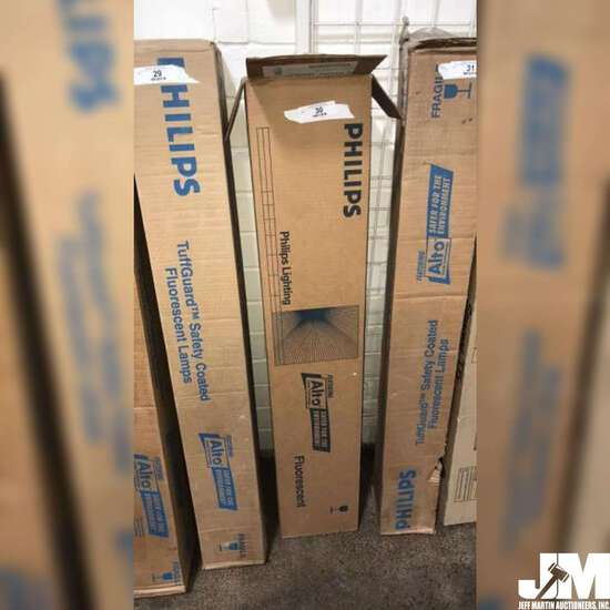 BOX OF PHILIPS FLUORESCENT LAMPS, BOX HAS BEEN OPENED BUT