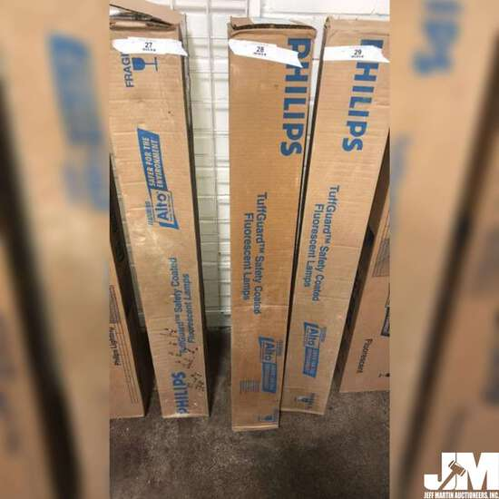 UNOPENED BOX OF PHILIPS TUFFGUARD SAFETY COATED FLUORESCENT LAMPS, BOX