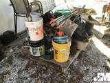 QTY OF MISC CONCRETE SUPPLIES, TRI PODS, HAND TOOLS, AND