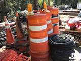MISC QTY OF ROAD CONES, BARRELS, AND WEIGHTED BASES