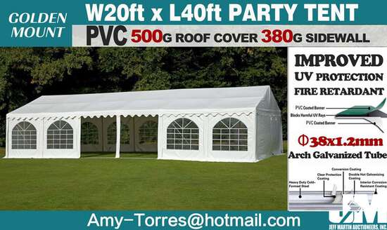 (NEW/UNUSED) 2020 GOLDEN MOUNTAIN COMMERCIAL PARTY TENT, 20'X40', 18 REMOVABLE