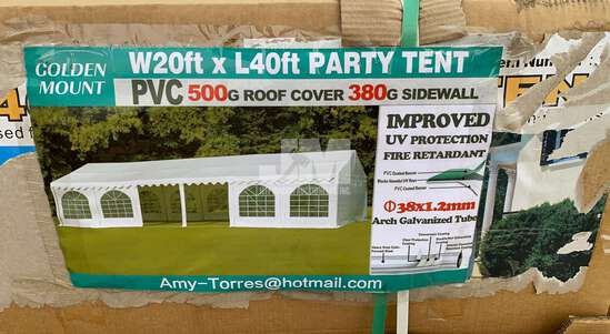 (UNUSED) 2020 PT2040 GOLDEN MOUNT COMMERCIAL PARTY TENT, (18) REMOVABLE