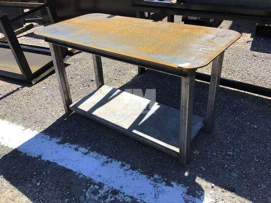 """(UNUSED) 30"""" X 57"""" STEEL WELDING TABLE W/SHELF, UNPAINTED"""