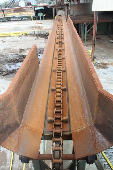 75' Endwise Log Trough; 10 HP gear motor drive