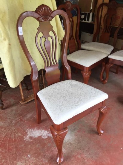 Set of 4 nice wooden dining chairs with upholstered seats