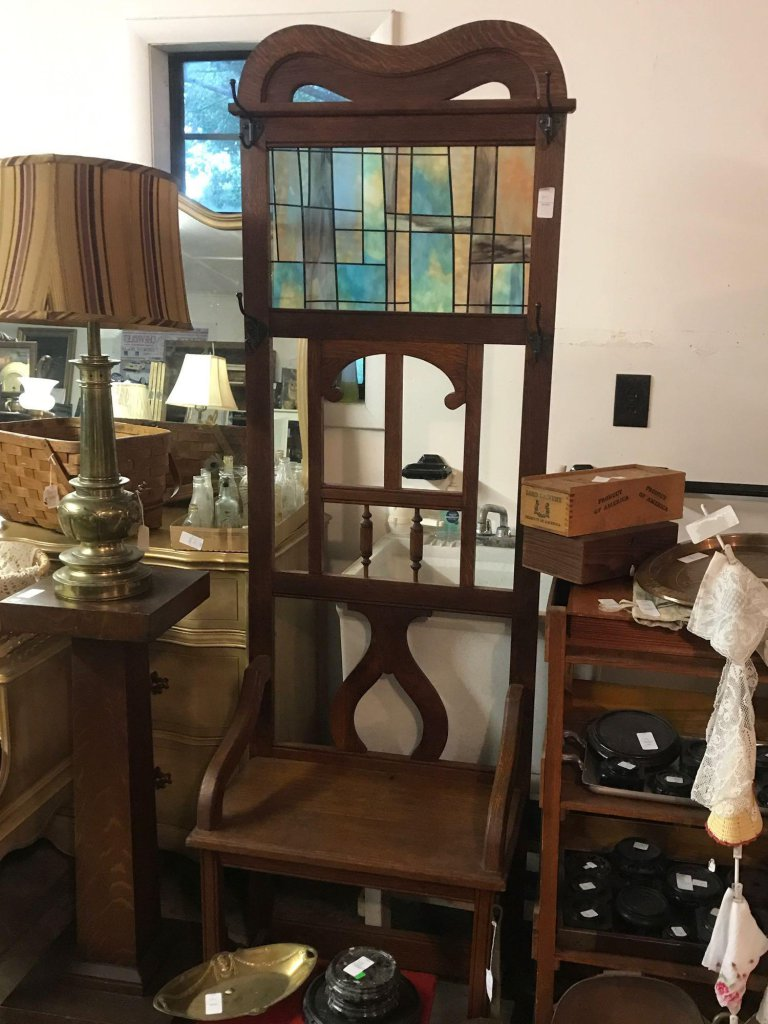 Beautiful Solid Wood Hall Tree with Faux Stained Glass Insert - 6?