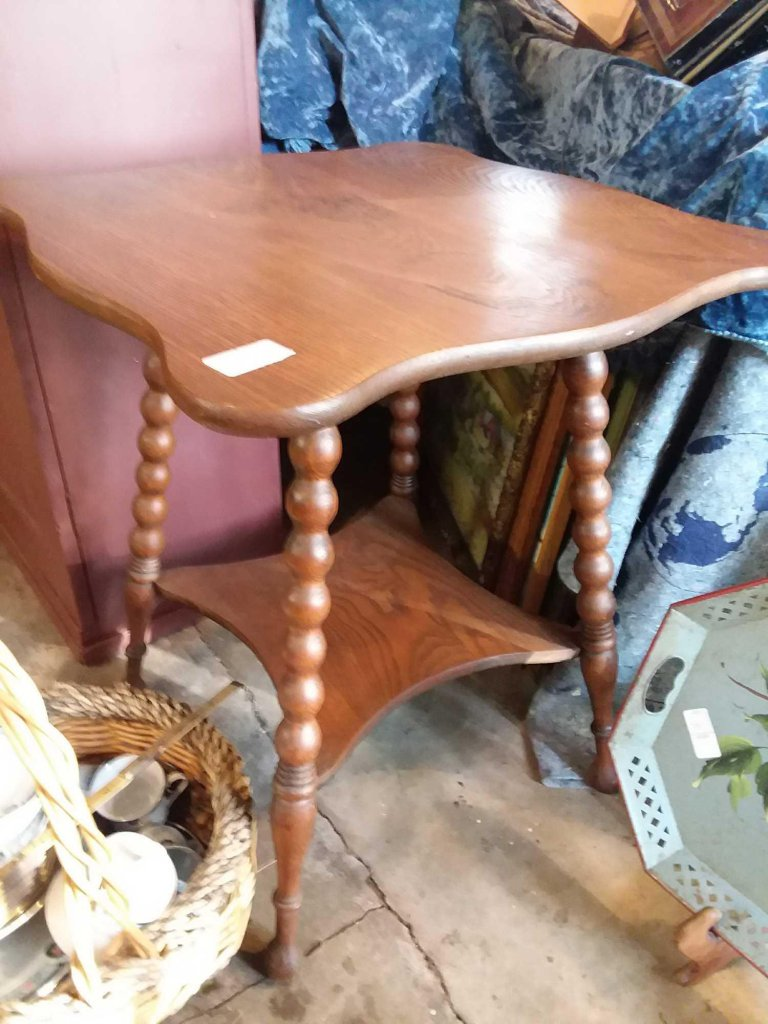 Nice solid Oak two tier table with twist legs