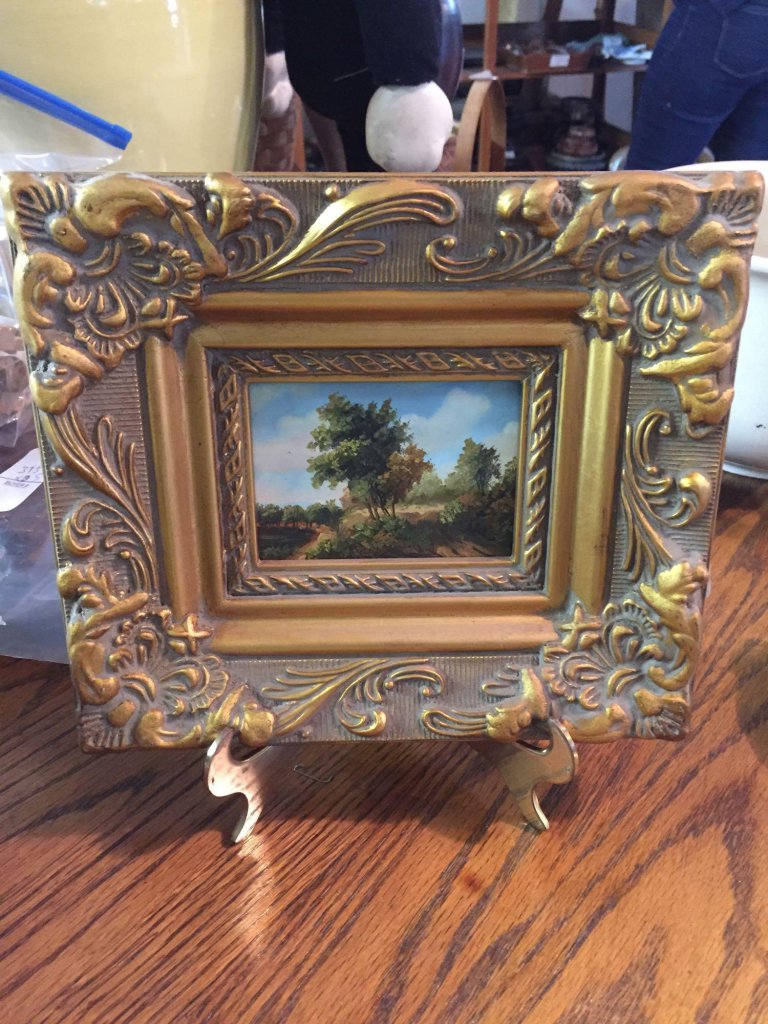 Unique small 8.25? x 7.25? Oil on board painting in ornate gold frame