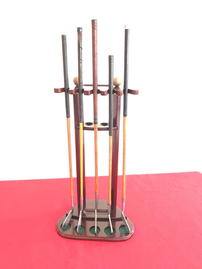 Vintage Golf Clubs Putters And Display Stand Lot