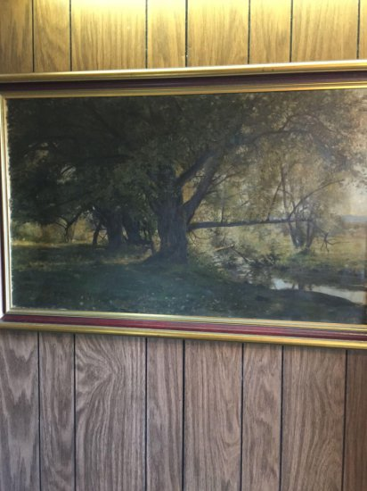 High quality Antique oil painting on canvas of Tree