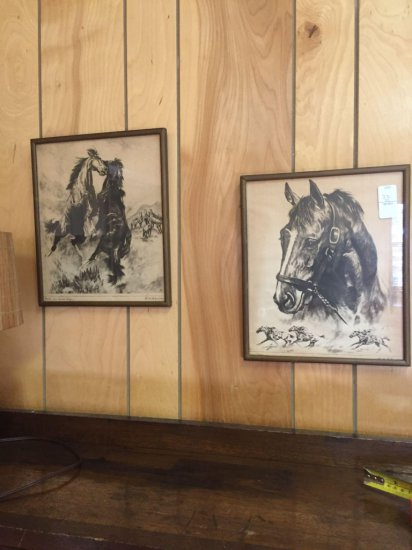 2 framed signed R.H. Palenske Horse prints