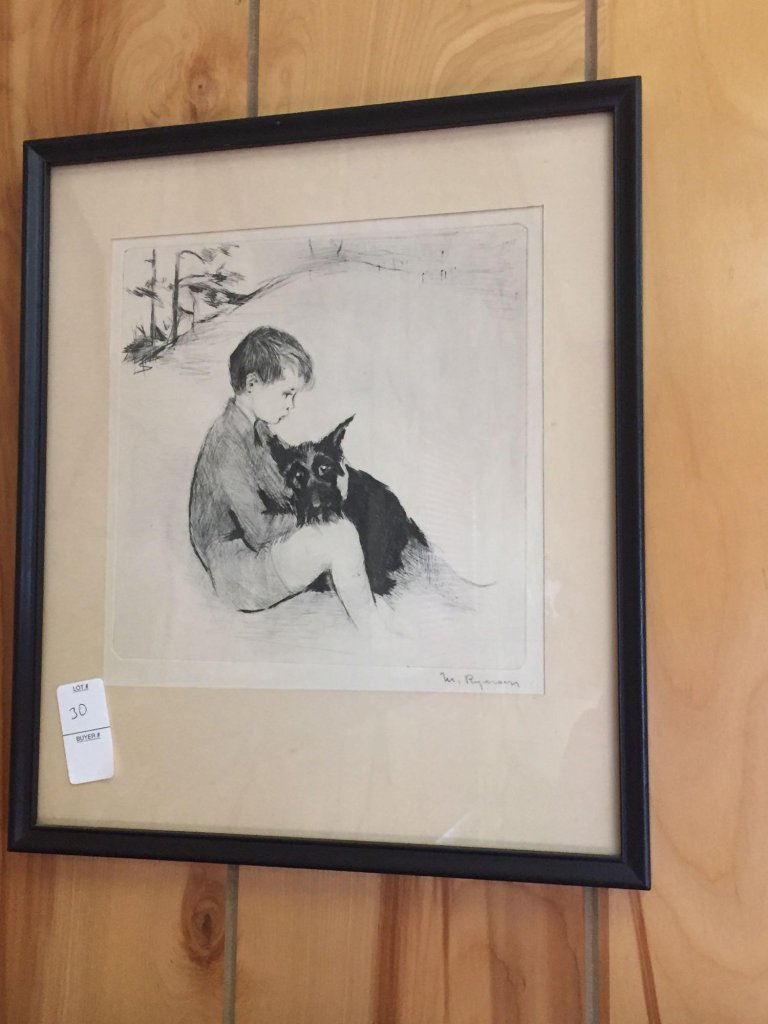 Signed M Ryerson? framed drawing of boy and dog