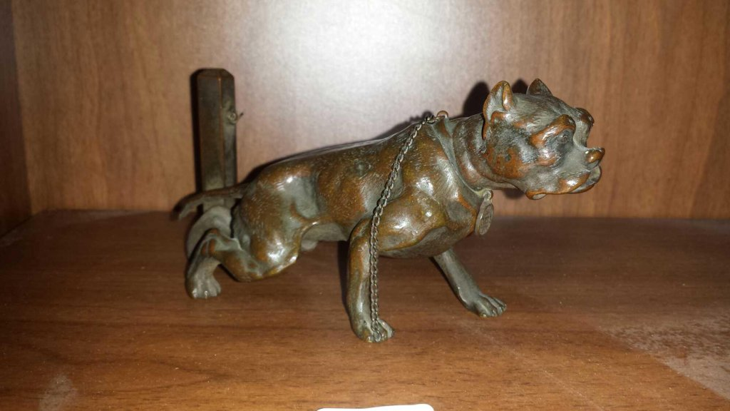 Strong Bronze Bull Terrier Figurine Marked Baden Baden Bruel