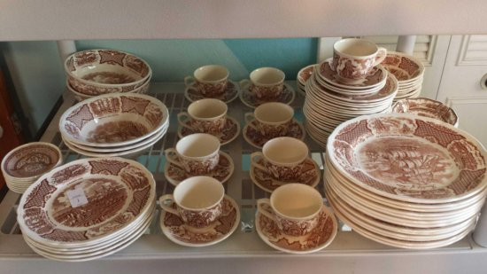 94 Pc Set!! Vintage Alfred Meakin STAFFORDSHIRE, Fair Winds USS Constitution, Historical Scenes of
