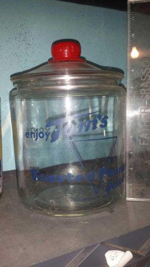"""Extra Large 10"""" glass Tom's Toasted Peanuts Jar."""