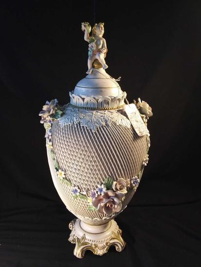 """Absolutely Stunning 22"""" Capodimonte Vase, Delicate Ivory Color with Flowers"""