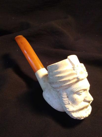 Vintage Arabian Turkish Figure, Bearded Man Meerschaum Pipe