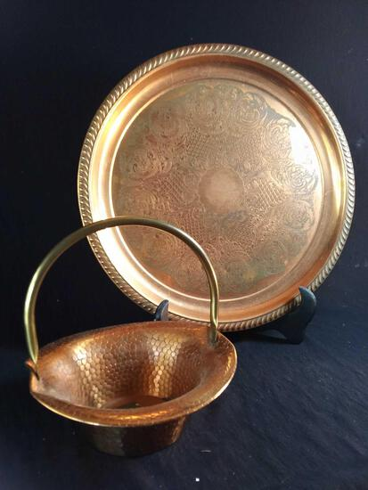 "15"" Ornate Copper Colored Charger with Hammered Coppr-style Basket"