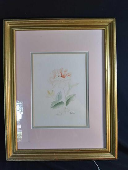 Signed and Framed Peony Watercolor Art