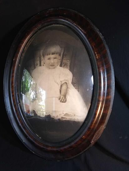Nice Old Tiger Mahongany Framed, Concave Glass, Infant Portrait