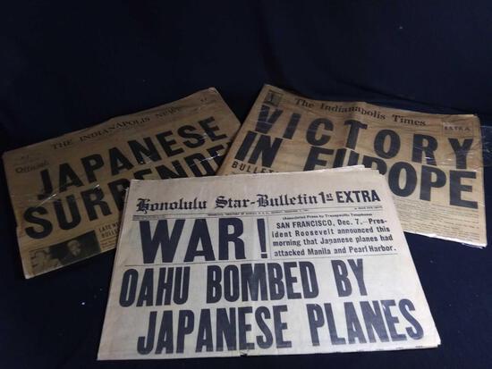 SHOCKING (1) 1941 (2) 1945 WORLD WAR II HEADLINE NEWSPAPERS