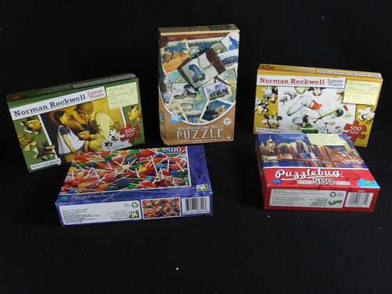 (5) Sealed 500 Piece Jigsaw Puzzles Including (2) By Norman Rockwell