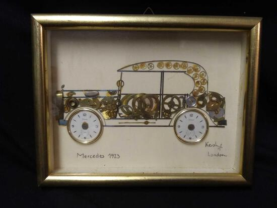 1923 Mercedes Kersh of London, signed certificate, horological collage