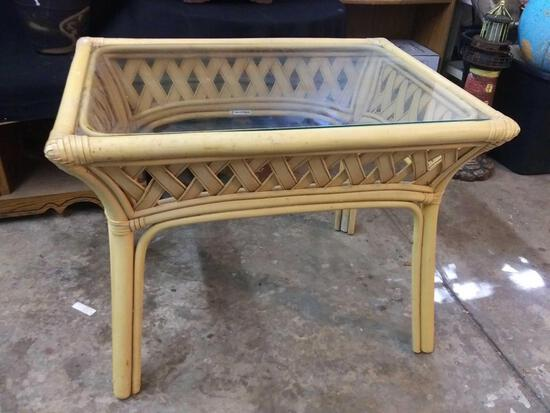 Glass top, lightweight rectangular wicker woven style side table, made in Philippines