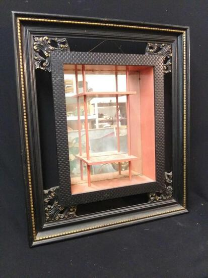 Large Oriental Style Mirrored Shadow Box Display, Wall Mounted