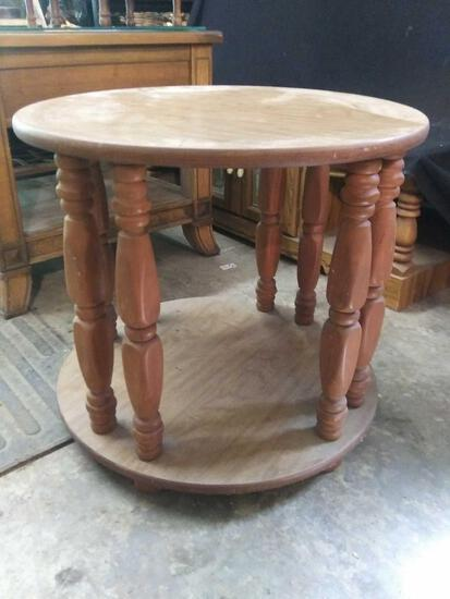 Double level round, 6 spindle support side table