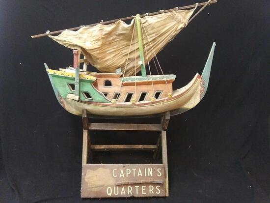 Very Nice Wooden Replica Boat on Wood Stand