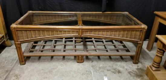 Rattan and wicker, glass top, coffee table