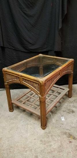 Rattan and wicker, glass top, side table