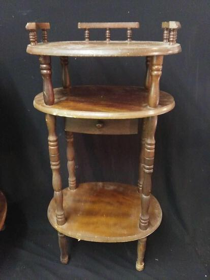 Unique 3 Level Spindle Leg Display / Side Table