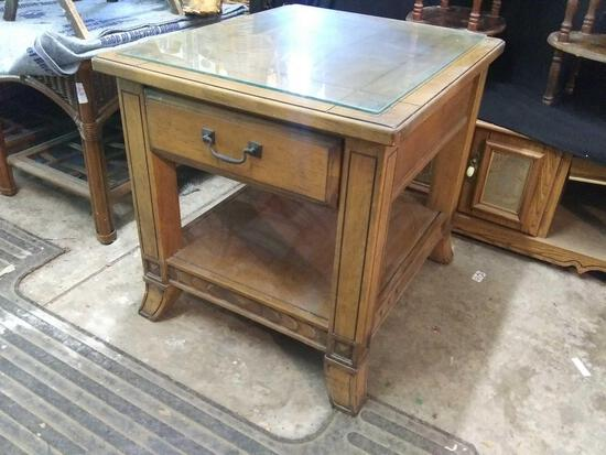 Very strong wooden side table with drawer and removable glass top