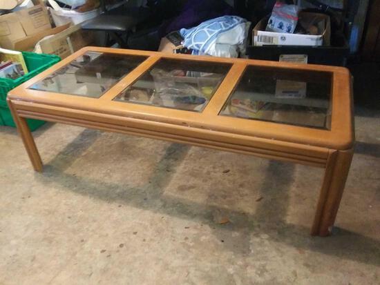 Light wood triple glass window coffee table