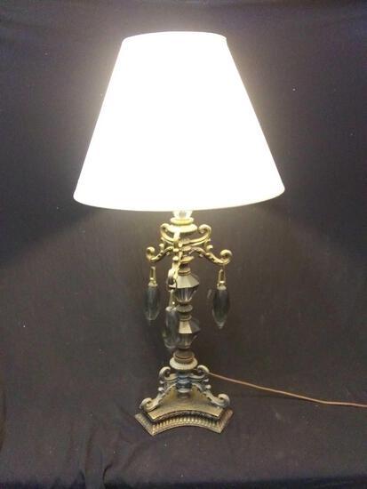 Large Baroque style, dark glass gem table lamp