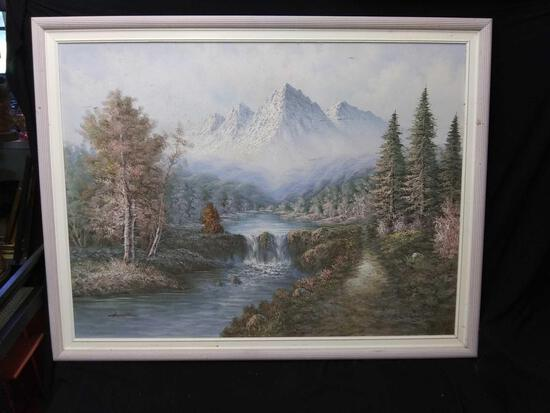 Extra large mountainous landscape with some cleaning needed, original art signed Hamilton